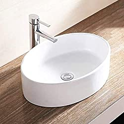 Mecor 20''x14'' Oval White Porcelain Bathroom Ceramic Vessel Sink Bowl Basin with Pop-up Drain