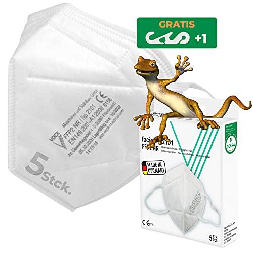 faciemF, 5 Stck. FFP2 Atemschutzmaske, Masken für Mund - und Nasenschutz | Universalmaske als Partikelschutz, DEKRA (0158) CE Zertifiziert Made in Germany, sofort ab Lager lieferbar (5)