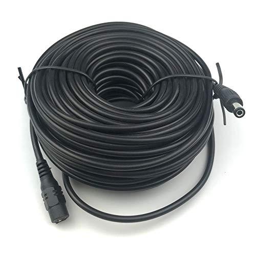 Vanxse DC Verlängerungs Kabel 20 Meter 2.1mm x 5.5mm Kompatibel mit 12V DC Adapterkabel DC Verteiler Verlängerungskabel für CCTV Sicherheitskamera IP Kamera Einzelgerät DVR (schwarz)