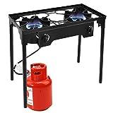 Goplus Outdoor Stove High Pressure Propane Burner 150,000BTU Portable Gas Cooker Height Adjustable...