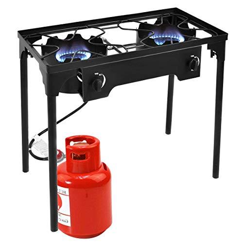 Goplus Outdoor Stove High Pressure Propane Burner 150,000BTU Portable Gas Cooker Height Adjustable Legs Detachable Camping Cooking Stove w/Adjustable Regulator & Stand (Double Burner 150,000BTU)