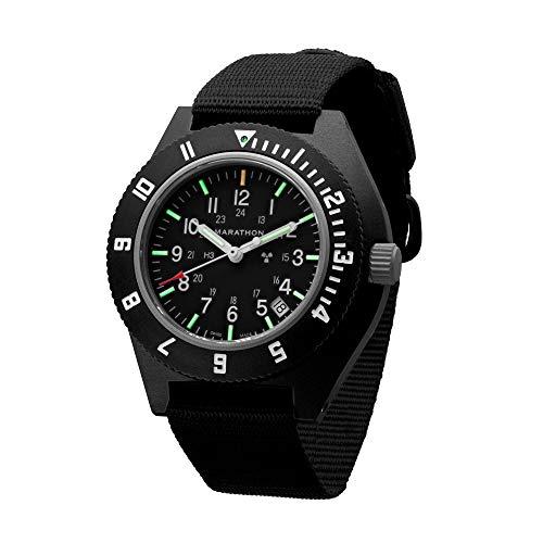 Marathon Watch Sapphire Navigator Swiss Made Military Issue Pilot's Watch with Date, Tritium, Sapphire Crystal, Steel Crown, Battery Hatch, ETAF06 Movement (41mm) (Black - No Government Markings)