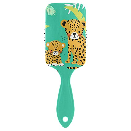 Vipsa Brosse à cheveux en plastique coloré pour petits et grands léopards, bon massage et anti-statique pour cheveux secs et humides, épais, bouclés ou droits.