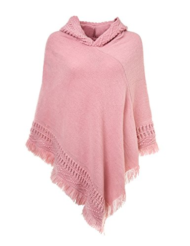 Ferand Ladies' Hooded Cape with Fringed Hem, Crochet Poncho Knitting Patterns for Women, Pink