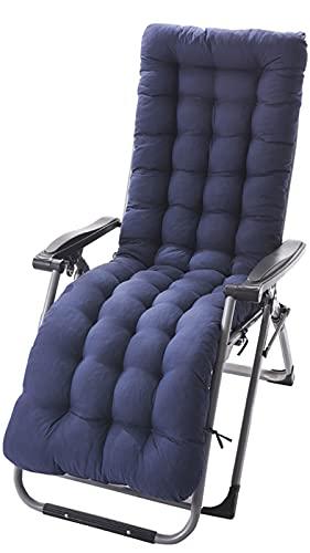 Cojín para tumbona, cojín de jardín antideslizante con lazos para el respaldo, cojines gruesos para tumbonas, cojines plegables para sofá, (gris-125 x 48 cm), azul marino, 125 x 48 cm