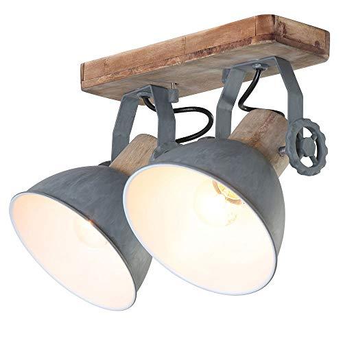 Deckenleuchte 2er Spot Steinhauer 7969GR Wandlampe Vintage E27 Rustikal Holz Metall Strahler