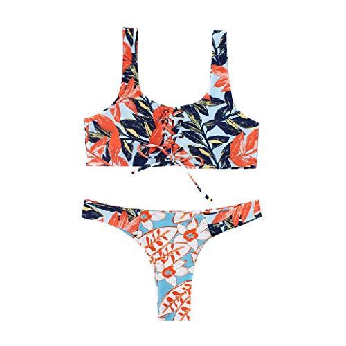 KPILP Femme Sexy Bikini Maillots de Bain 2 Pièces - Femme La Mode Printemps et été Petit Frais Impression Confortable Polyester Les Loisirs Maillots de Bain 2 Pièces (Multicolore,FR-46/CN-XL)