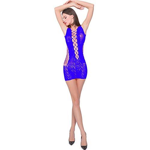 XINNALI Europäische und amerikanische sexy Unterwäsche Strap Siamese Mesh Enge transparente Pyjamas, blau, eine Größe