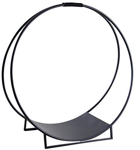 PEGANE Porte-bûches Rond en métal, Coloris Noir - Dim : Ø 70 x H 71 cm