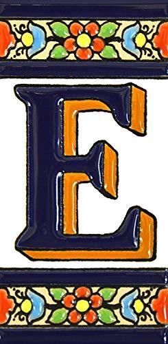 """Letras y números con todo el abecedario, forma tus letreros en azulejo de cerámica policromada, pintados a mano en técnica cuerda seca. (Letra """"E"""")"""