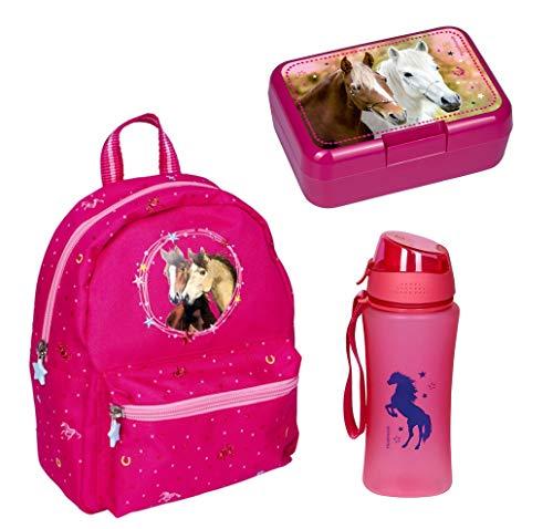 Familando Spiegelburg Rucksack-Set 3 TLG. mit Brotdose und Trinkflasche Pferde-Freunde Pink Glitzer für den Kindergarten
