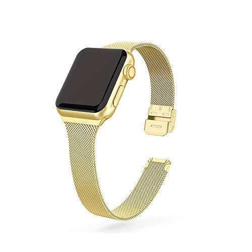 Hspcam Correa de metal delgada para Apple Watch 6/SE/5/4/3/2/1 38mm 40mm acero inoxidable correa de reloj para iwatch series SE/6 42MM 44MM pulsera (para 38mm y 40mm SM, oro)