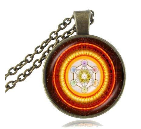 XXCKA Würfel Anhänger Halskette Heilige Geometrie Blume des Lebens Schmuck Chakra Spirituelle Halskette Frauen Magic Hexagram Choker