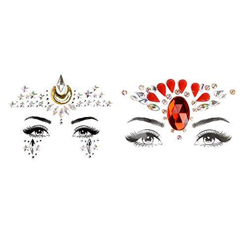 Gesicht Edelsteine Temporäre Tattoos Festival Glitter Aufkleber Schmucksteine Selbstklebend Gesicht Face Juwelen Sticker für Parties Make-up Shows - 2 Stück