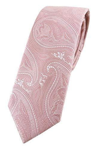 TigerTie Corbata estrecha de diseñador con estampado de cachemira - Binder Tie, Rosa Altrosa plata., Talla única