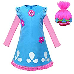This costume comes with the Dress, and Wig for a complete and ready to wear set. Now your child can truly get into character in our Trolls Princess Poppy Costume, that features a blue knee length dress with mesh skirt edges and sleeves which even inc...