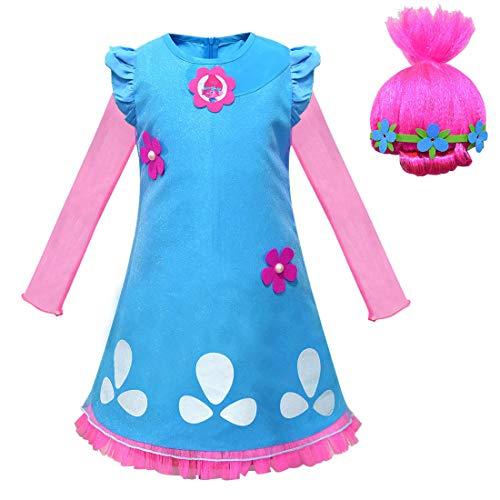 Trolls Poppy Princess Kostüm für Kinder, Halloween, Cosplay, Kostüme mit Perücke (Stil 1, 6–7 Jahre)