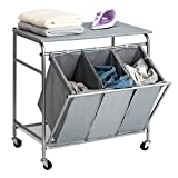 ironing board and sorter - HollyHOME Laundry Sorter Cart with Unopenable Ironing Board with Side Pull 3-Bag Heavy-Duty Laundry Hamper and 4 Wheels Grey