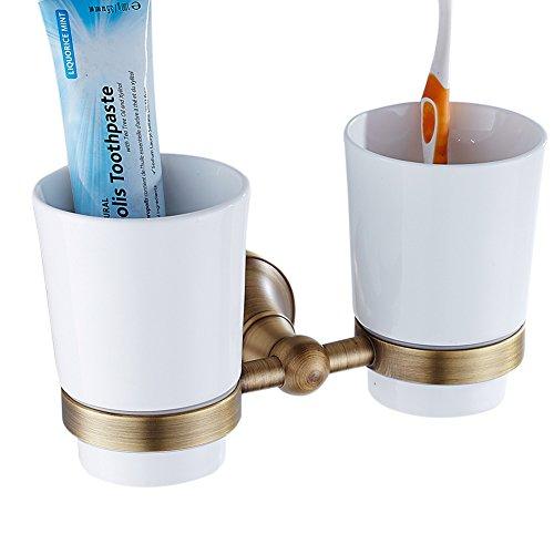 CASEWIND Messing Doppel Zahnbürstenhalter mit Weiß Keramik Bechern, Zahnputzbecher Halter Wand Bohren Wandmontage Dusche Antik Vintage Retro Stil