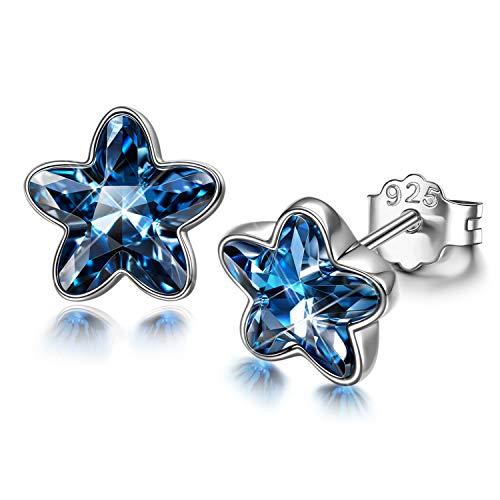 DISSONA 925 Silver Earrings for Women, Flower Dance, Gifts for Her, Daisy Stud Earrings for Women, Crystal from Austria, Jewellery Gift Box