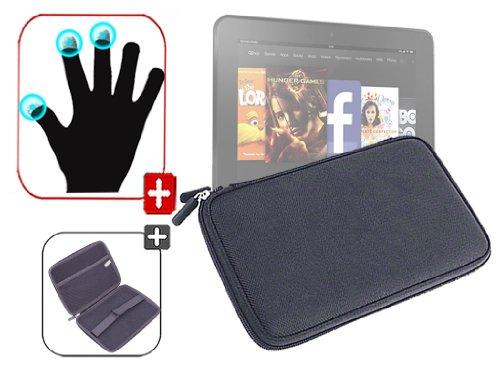 """DURAGADGET Housse étui résistant en EVA Rigide Noir + Gants capacitifs conducteurs Taille S (Petit) pour Nouvelle Tablette Kindle Fire 7"""" d'Amazon – G"""