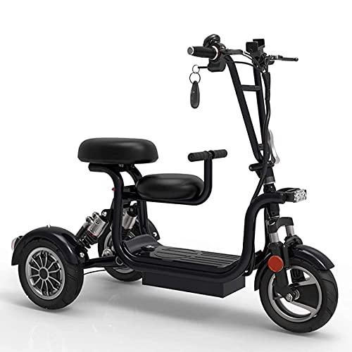 Scooter de Movilidad Plegable, Scooter eléctrico, Scooter de Movilidad de 3 Ruedas para Adultos y niños, Ligero, portátil, Recargable, 2 Asientos, Scooter eléctrico de Movilidad, Negro, 45 km