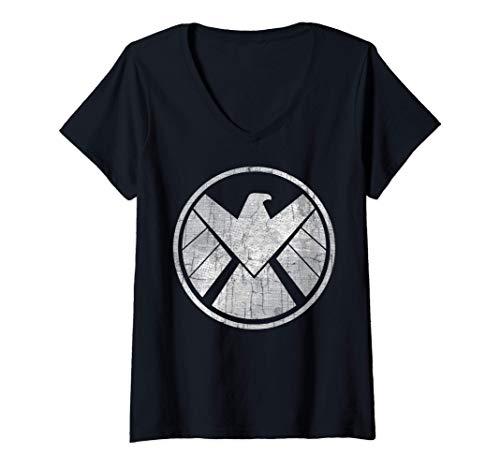 Donna Marvel Agents of S.H.I.E.L.D. Grungy Logo Vintage Maglietta con Collo a V