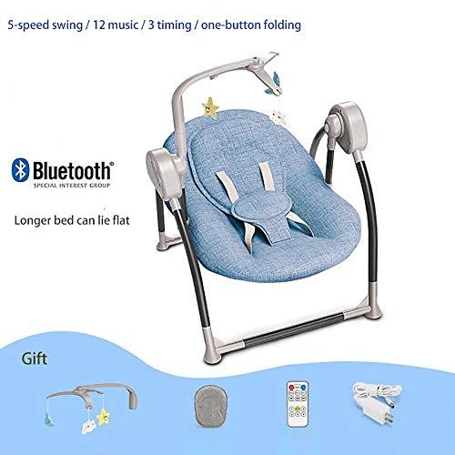 GAOJIN Hamacas Bebe Automatica Música Bluetooth Hamacas Bebe Vibracion 5 Archivos Oscilan 12 Música 3 Veces El Tiempo Plegable El Respaldo En Forma De Huevo Protege La Vértebra Cervical
