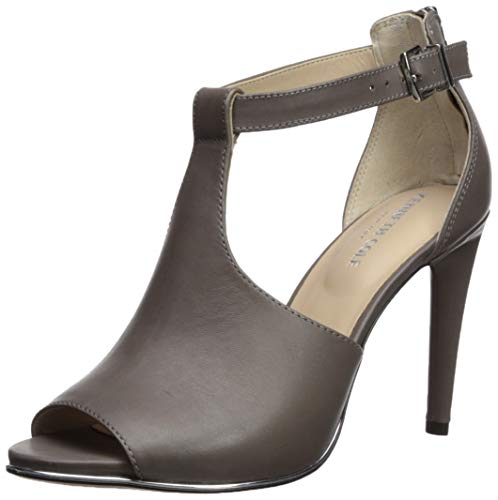 Kenneth Cole New York Women's Brylie Peep Toe T-Strap Dress Sandal Heeled, Grey, 8 M US