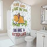Gamoii Cortina de ducha con frases graciosas, con texto en alemán 'Habe ein besser Leben Hund Corgi', lavable, con anillas, 120 x 200 cm, color blanco