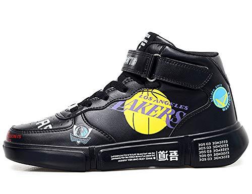 GNEDIAE Herren GNEA66 High-Top Basketball Schuhe Outdoor Anti-Rutsch Sneaker Atmungsaktiv Ausbildung Turnschuhe Sportschuhe Laufeschuhe Verschleißfeste Dämpfung Basketballstiefel Schwarz 40 EU
