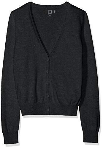 Amazon-Marke: MERAKI Baumwoll-Strickjacke Damen mit V-Ausschnitt, Grau (Charcoal), 38, Label: M
