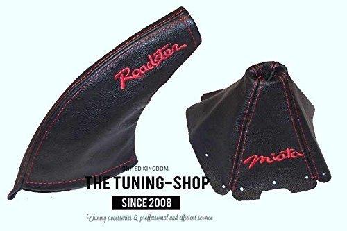 Für Mazda MX-5Mk11989–97Gear & Handbremsmanschette schwarz Leder rot Miata & Roadster Edition Stickerei