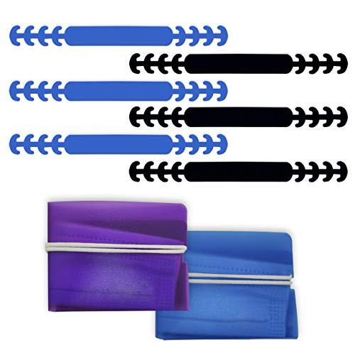 HELAFUN - 8 Piezas - Protector orejas, Sujeta mascarillas, Salvaorejas para mascarillas (6 unds), incluye Porta mascarillas, Funda mascarilla, guarda mascarillas (2 unds).