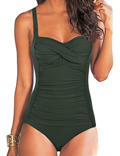 Hilor Women's One Piece Swimsuits Front Twist Bathing Suits Tummy Control Swimwear Retro Inspired Monokini Dark Army Green 8