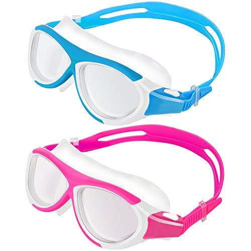 MoKo 2 Pezzi Occhialini da Nuoto per Bambini, Occhiali di Nuoto con Cornice in Silicone Morbido Anti-Appannamento Lenti Protezione UV Accessori Nuoto Swim Glasses Nuoto per Bambini - Rosa + Azzurro