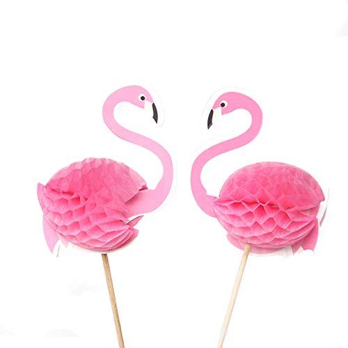 Nuluxi Flamingo Kuchen Dekoration Tortenstecker Flamingo Pink Cupcakes Toppers Pink Flamingo Geburtstag Cupcake Topper Dekoration für Kuchen Eine schöne Kreativ Lustig Kuchenszene schaffen(50 stück)