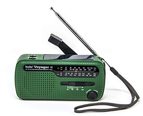 Best NOAA Portable Solar/Hand Crank AM/FM, Shortwave & NOAA Weather Emergency Radio with USB Cell Phone Charger & LED Flashlight (Green) (Renewed)