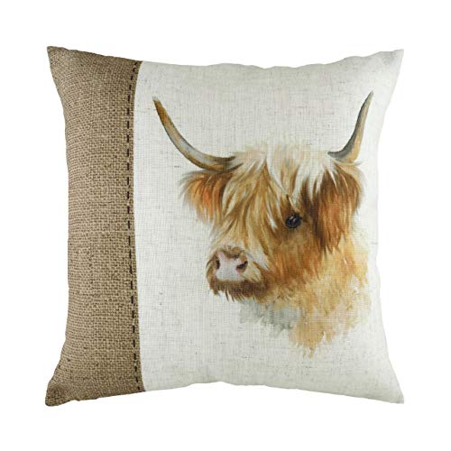 Evans Lichfield Hessian Cow Cushion Cover, Polyester, White, 43 x 43cm