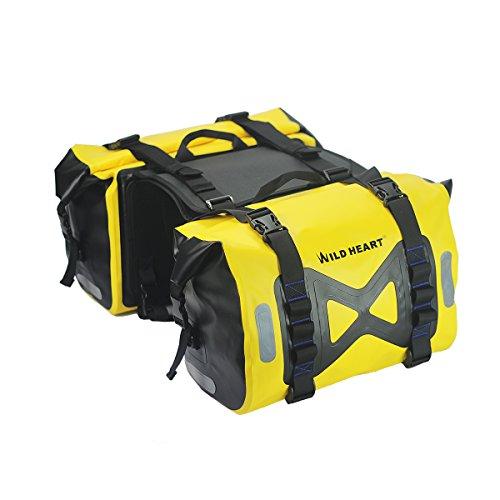 WILD HEART Unisex - Kinder wasserdichte Tasche Motorrad Satteltasche 50L Tankrucksack Motor Seitentasche Einheitsgröße Gelb