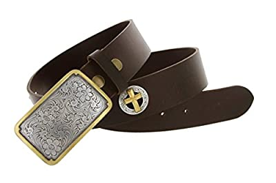Big and Tall Mens Oil Tanned Leather Belt with Gold Accented Western Cowboy Buckle and Cross Conchos (58 Brown)