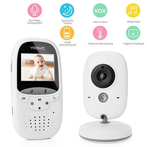 Yissvic Babyphone 2.4GHz mit Kamera Wireless Video Baby Monitor Nachtsicht Gegensprechfunktion Temperatursensor 2.0 Zoll LCD (Verpackung MEHRWEG)