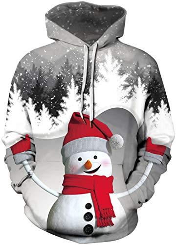 EUDOLAH Men's Hoodie Christmas Costume 3D Printed Snowman Reindeer socking Cats Long Sleeve Jumper(L,Grey 346)