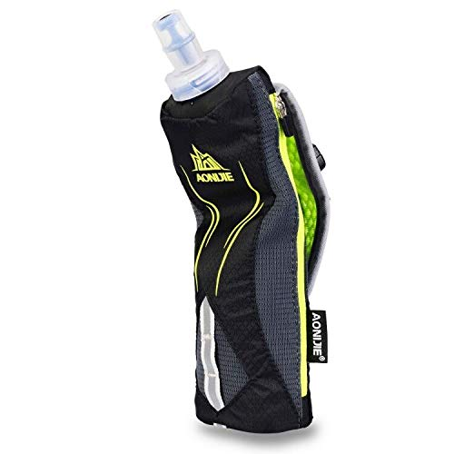 LERMX Quick Grip Chill 17 oz Handheld soft Flask Water Bottle Hydration Pack (17 oz Black)