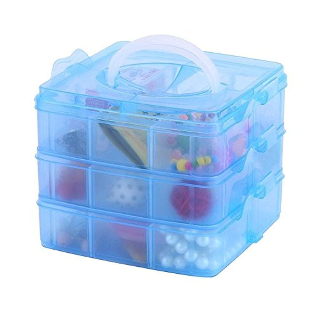 DJUNXYAN 3-Tier 18 Sections Transparent Stackable Adjustable Compartment Slot Plastic Craft Storage Box Organizer for Toy Desktop Jewelry Accessory Drawer Or Kitchen 4 Colors 3 Sizes (Medium Blue)