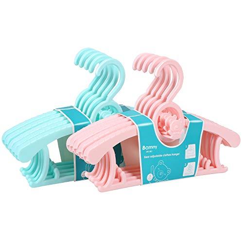BAMNY Perchas Infantiles para Bebé Niños Ajustables de Plástico Antideslizantes para Ropa Resistentes (5 Rosa + 5 Verde)