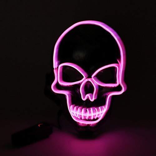 ZHAS Máscara de Halloween Light Up Máscaras de Calavera Tejida El Wire para Adultos Carnaval Mascarada Cosplay Máscara de Disfraz Decoraciones de Halloween Estados Unidos Rosa