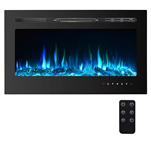 "PAOLFOX 36"" Electric Fireplace Recessed and Wall Mounted, 9 Available Flame Color and 5 Brightness, 750/1500W Fireplace Heater, Adjustable Temperature and Timer, Touch Screen&Remote Control (36'')"