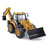 Dollox Die-cast Excavator Backhoe Front Loader Truck, 1/50 Metal Engineering Vehicle Construction Tractor Model Collection Bulldozer Back Hoe Truck Decoration Toy Gift for Kids