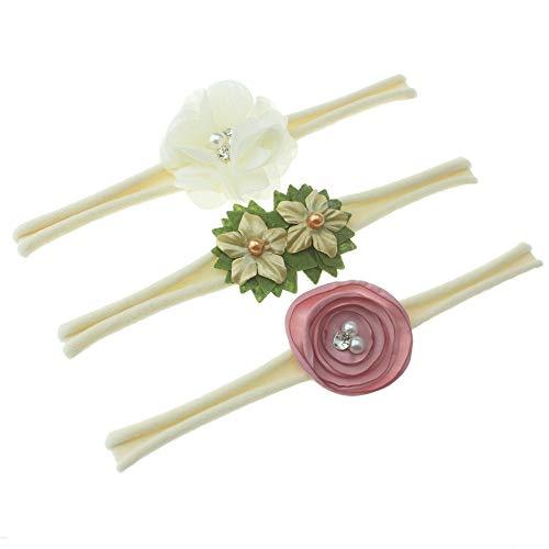 Venda de nylon del bebé / venda floral del pelo - diseño elástico suave del diseño de 3 (marfil)